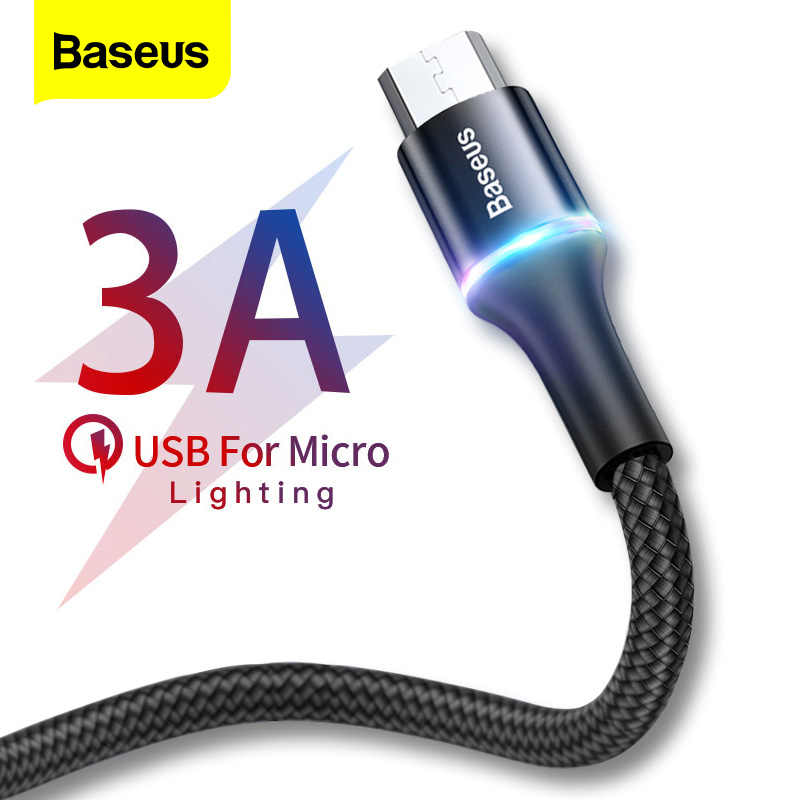 Baseus 3A مايكرو USB كابل LED شحن سريع مايكرو كابل ل شاومي Redmi 4 نوت 5 برو سامسونج أندرويد كابلات الهاتف المحمول 2 متر
