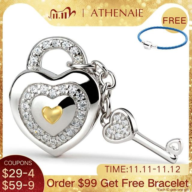 ATHENAIE 925 Silver with Pave Clear CZ Lock of Love Charm Beads Fit All European Bracelets Gift For Christmas , Valentines Da