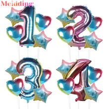 5pcs Rainbow Baloon Number Foil Balloons Set 1 2 3 4 5 6 7 8 9 Years Kids Birthday Party Decorations Girl Globos Baby Shower 5pcs 1 4 page 7