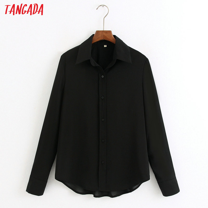 Tangada Women Basic Classic Black Shirts Long Sleeve Solid Turn Down Collar Elegant Office Ladies Work Wear Blouses 6Z25
