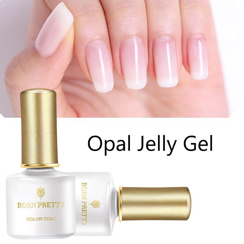 Опаловый Желейный гель BORN PRETTY, 6 мл, розовый Желейный Гель-лак, Базовое покрытие, без протирания, верхнее покрытие, белый отмачиваемый УФ-гель...