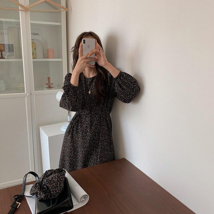 H816f837afc3749f596c4b4f0059027b6f - Autumn O-Neck Long Sleeves Chiffon Floral Print Midi Dress
