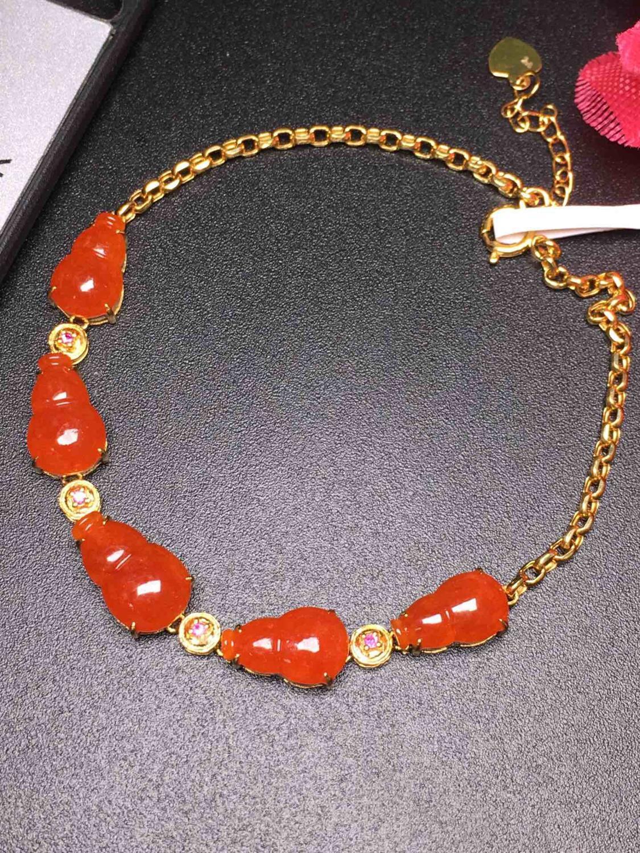 103 véritable pur or 18 K AU750 origine du myanmar Burmes naturelles rouge Jade pierre gemme femelle Bracelets pour femme Bracelets fins