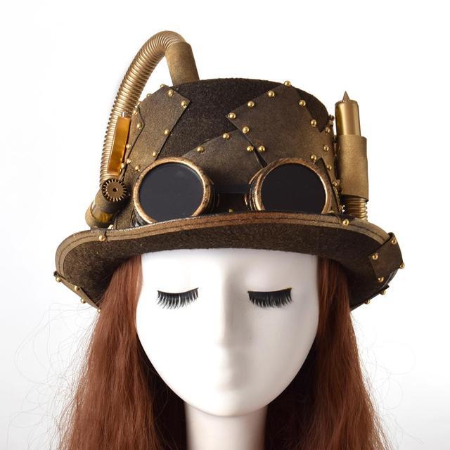 Vintage Steampunk Top Lolita sombrero Retro Punk Unisex gorro de gafas Fedora de sombreros de Cosplay