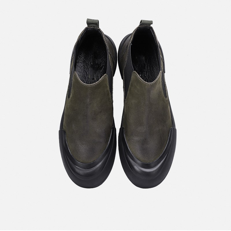 Winter Retro Casual Slip On Mens Flat Ankle Boots New Brand Fashion Genuine Leather Nubuck Round Toe Chelsea Botas Masculina