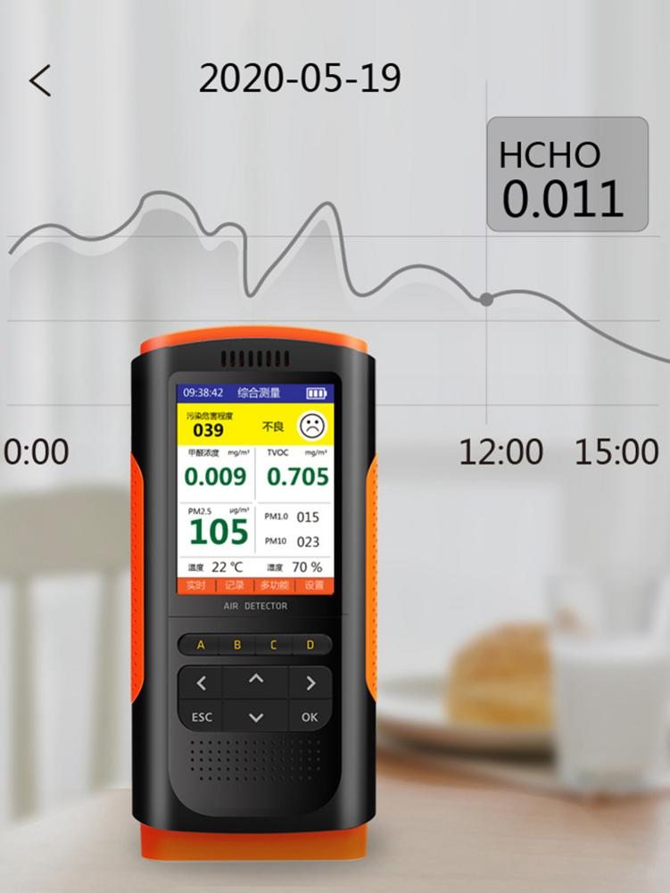 Air-quality-monitor Pm2.5/10 Tester Detector Lcd Display Multi-functional Automation Formaldehyde Detector Four-season Universal Rich In Poetic And Pictorial Splendor