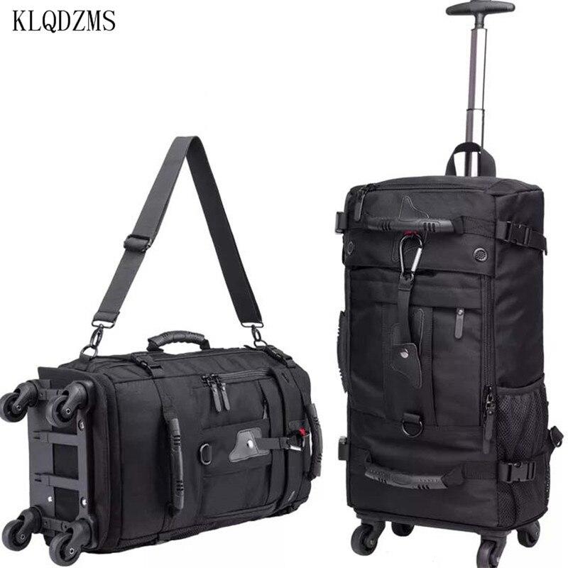KLQDZMS 18inch High Capacity Travel Bag Rolling Luggage Oxford Cloth Men Women Trolley  Suitcase