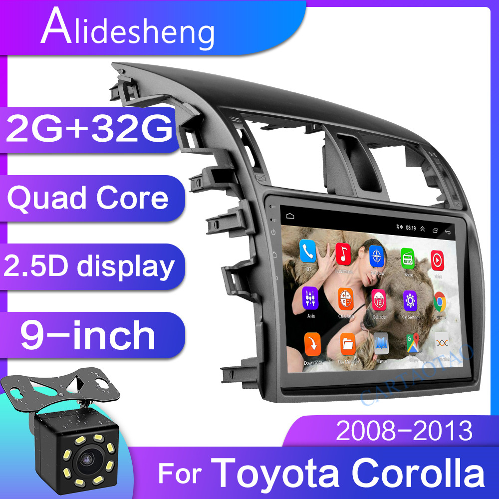 2G+32 2.5D 2Din Android 8.1 GO car dvd Multimedia player GPS for Toyota Corolla E140/150 2006 2007 2008-2013 navigatio WiFi BT(China)