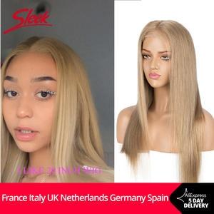 Sleek Cosplay Wig Closure Short Blonde Human-Hair Lace Gold Orange Straight Brazilian