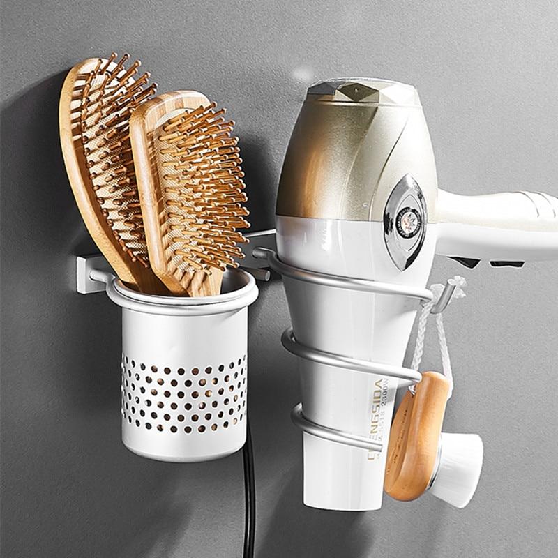 Gold Hair Dryer Holder Space Aluminium Bathroom Wall Shelf Hair Dryer Rack with Basket bathroom shelves Bathroom Accessories