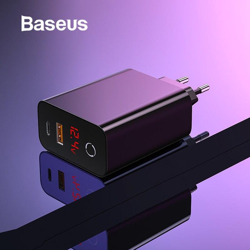 Baseus 45 واط USB PD شاحن سريع تهمة 4.0 3.0 آيفون 11 برو XR Xs ماكس شاومي شاشة ديجيتال USB نوع C شاحن سريع QC 3.0-في شواحن الهواتف المحمولة من الهواتف المحمولة ووسائل الاتصالات على AliExpress