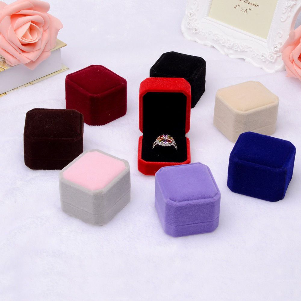 Hot 1PC Gift Square Velvet Boxes Display Case Weddings Party Jewelry Box For Ring Earrings Black Red 7 Colors New Arrival