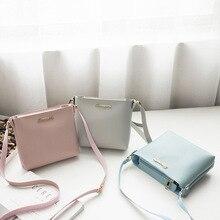 Fashion Casual Sweet Handbag For Women Metal Letters Lady Solid Bucket Type Mobile Messenger Shoulder Bag Brand PU bolsos mujer