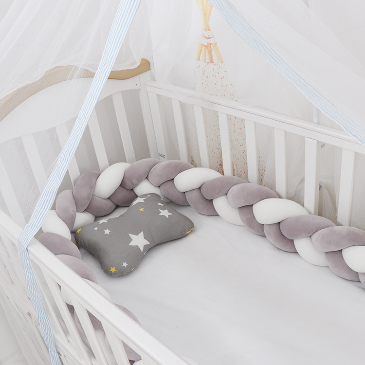 3M Length Crib Bedding Set 3Braid Knot Pillow Baby Bed Protection Baby Girl Room Decor Berco Bebe
