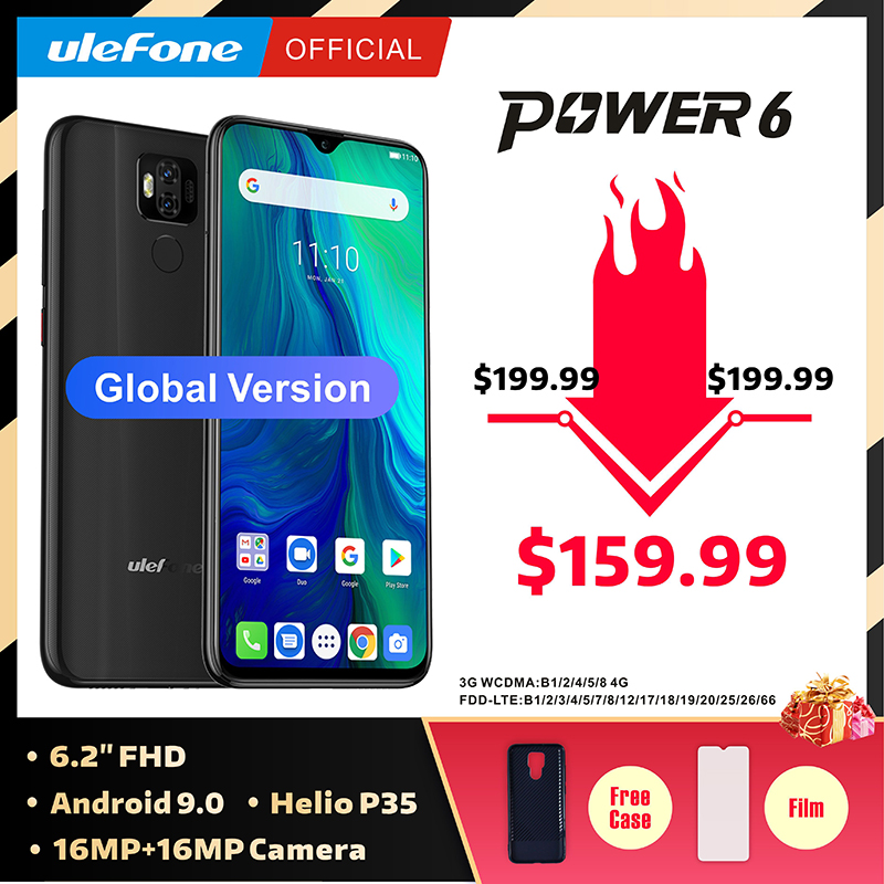 "Ulefone power 6 Smartphone Android 9.0 Helio P35 Octa core 6350mah 6.3"" 4GB 64 GB 16MP face ID NFC 4G LTE Global Mobile Phones-in Cellphones from Cellphones & Telecommunications"