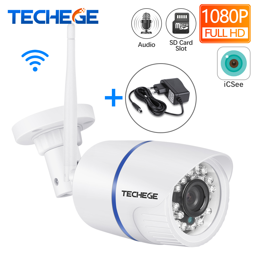 Techege 1080P WIFI IP Camera HD 2.0MP Audio Record Wifi Camera Night Vision TF Card Slot Wireless Wired CCTV Camera P2P Onvif