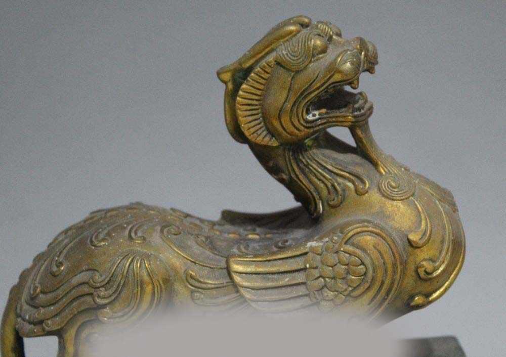 """7 """"סיני ברונזה זהב עממי בעלי החיים Kylin צ 'י לין Qilin חית פיסול פסל"""