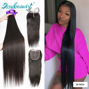 Rosabeauty 28 30 32 Inch Peruvian Hair Bundles Straight 3 4 Bundles With Lace Closure Remy Human Hair and closure(China)
