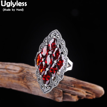 Uglyless Luxury Palace Design Garnet Rings for Women Vintage Rhombus Wide Open Rings Thai Silver 925 Silver Fine Jewelry R928