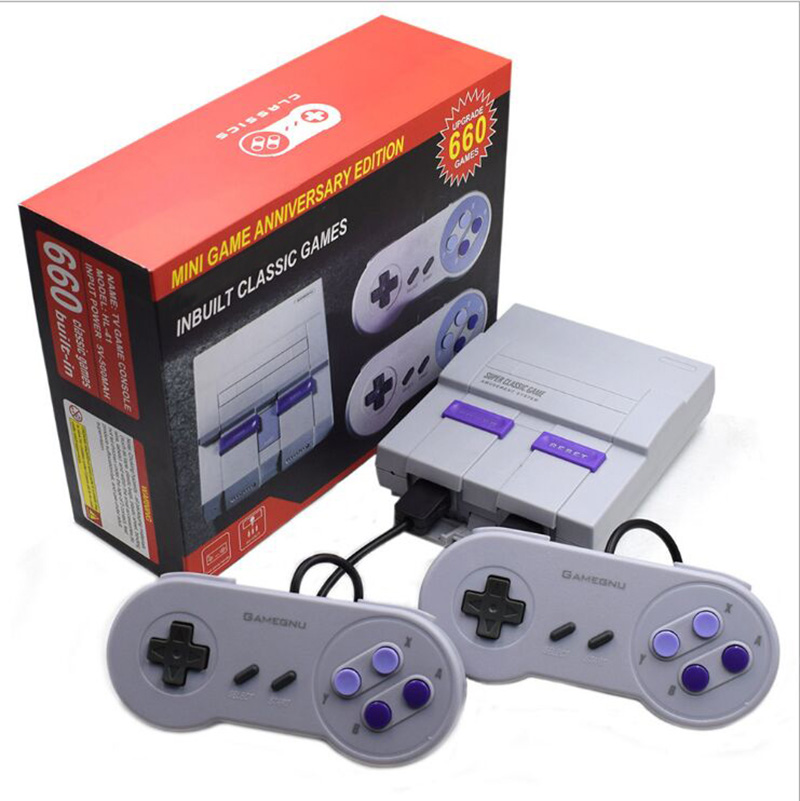 For NES 8Bit Mini Retro Video Game Console Built-in 660 Classic Games Family Video Game Console Handheld Gaming Player+2 Gamepad
