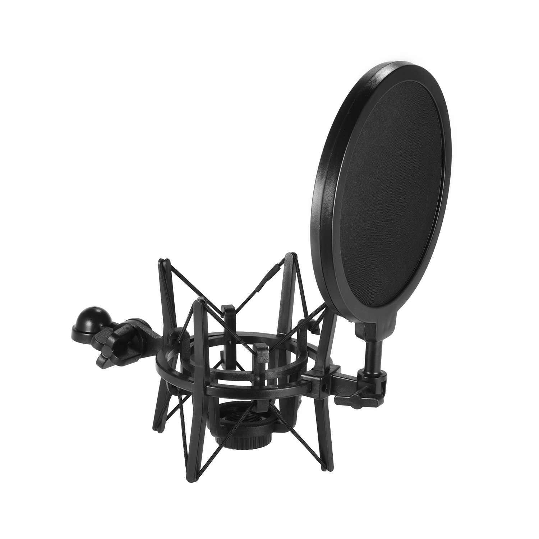 Muslady Univerdal Condenser Microphone Mic Shock Mount Holder Bracket Plastic Anti-vibration for On-line Broadcasting Studio Music Recording