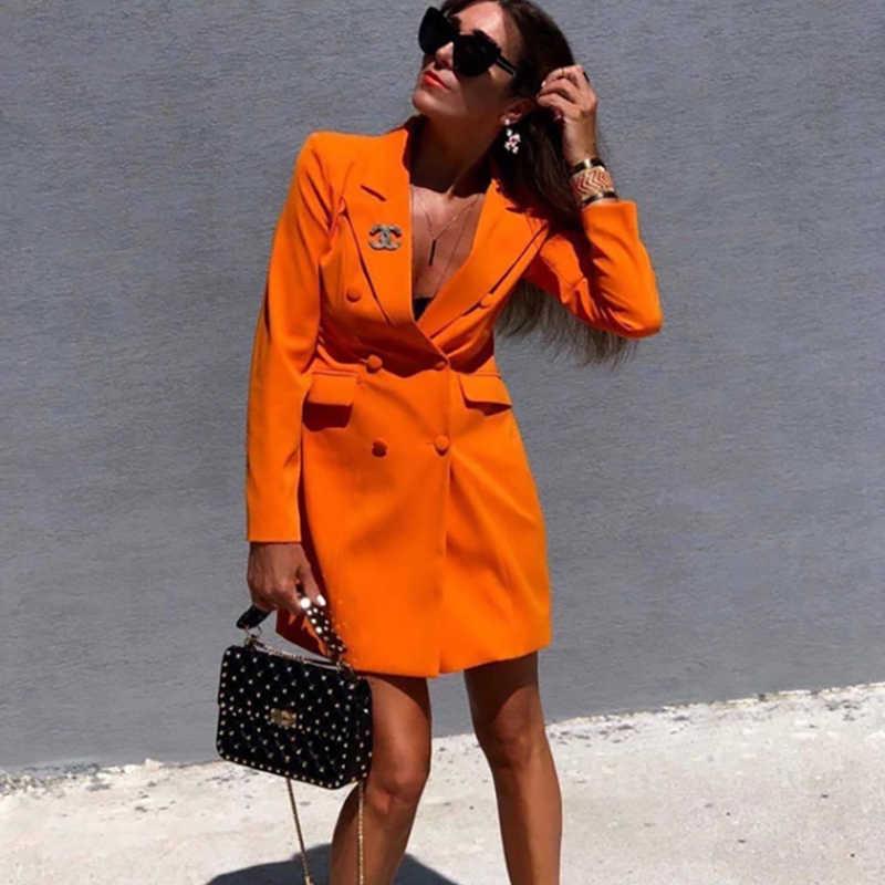 女性のセクシーなスーツファムブレザー痩身ウエストスリムオレンジビジネスコート女性ドレスオフィスレディボタン固体コート Vadim ツイード