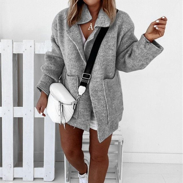 Jodimitty Autumn New Cardigan Women Sweater Pure Color Loose Lapel Collar Long Sleeve Sweater Winter Women Fashion Coats 2020