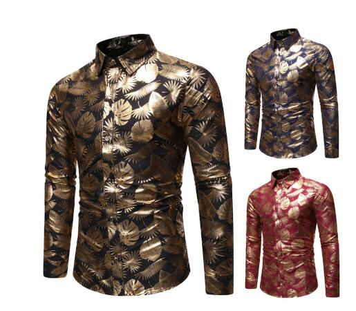 Men's Gold Luxury Design Clothing Shirts 2020 Autumn New Slim Fit Buttoned Floral Printed Stylish Club Shirt For Party