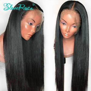 Human-Hair Wigs Slove Straight Natural Women Full-Lace Brazilian Black-Color for Remy