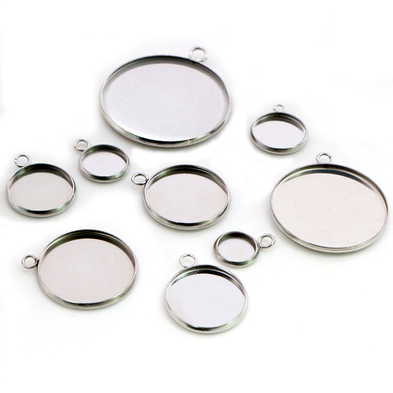 Stainless Steel Material 8-30mm Inner Size New Fashion One Loop Style Cabochon Base Cameo Setting Charms Pendant Tray