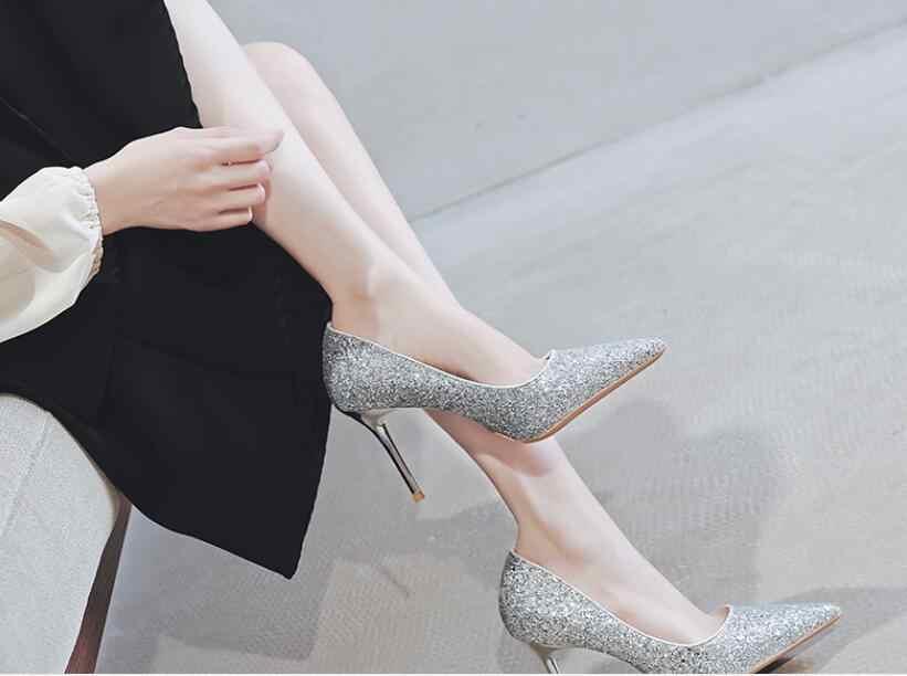 Yeni moda yüksek topuklu ayakkabılar kadın pompaları ince topuk klasik beyaz sığ ağız sivri sequins seksi balo düğün ayakkabı mavi kırmızı