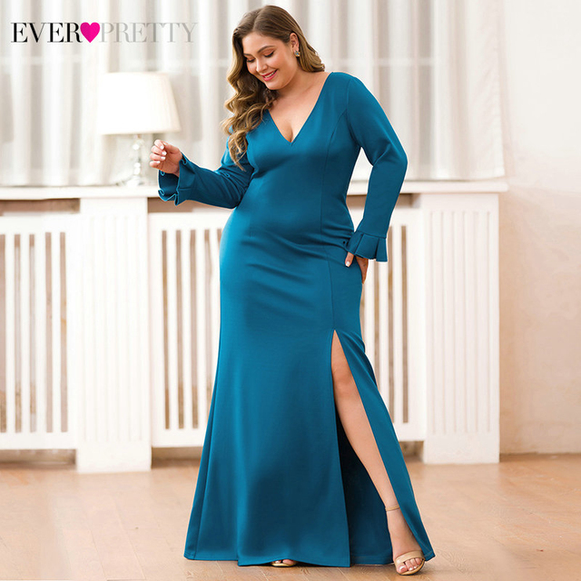 Sexy Teal Mermaid Prom Dresses V-Neck High Split Long Sleeve Elegant Women Formal Party Dresses 3
