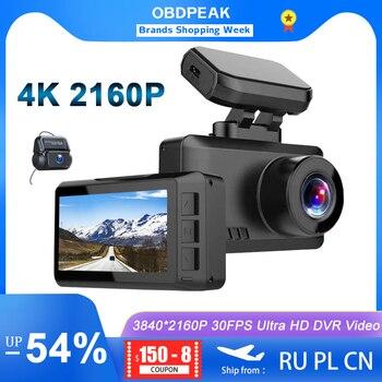 OBDPEAK M63s 4K Smart Dash Cam WiFi Car Camera Dashcam 30FPS Ultra HD Real 4K Car DVR Video Recorder Built-in GPS 24H Parking