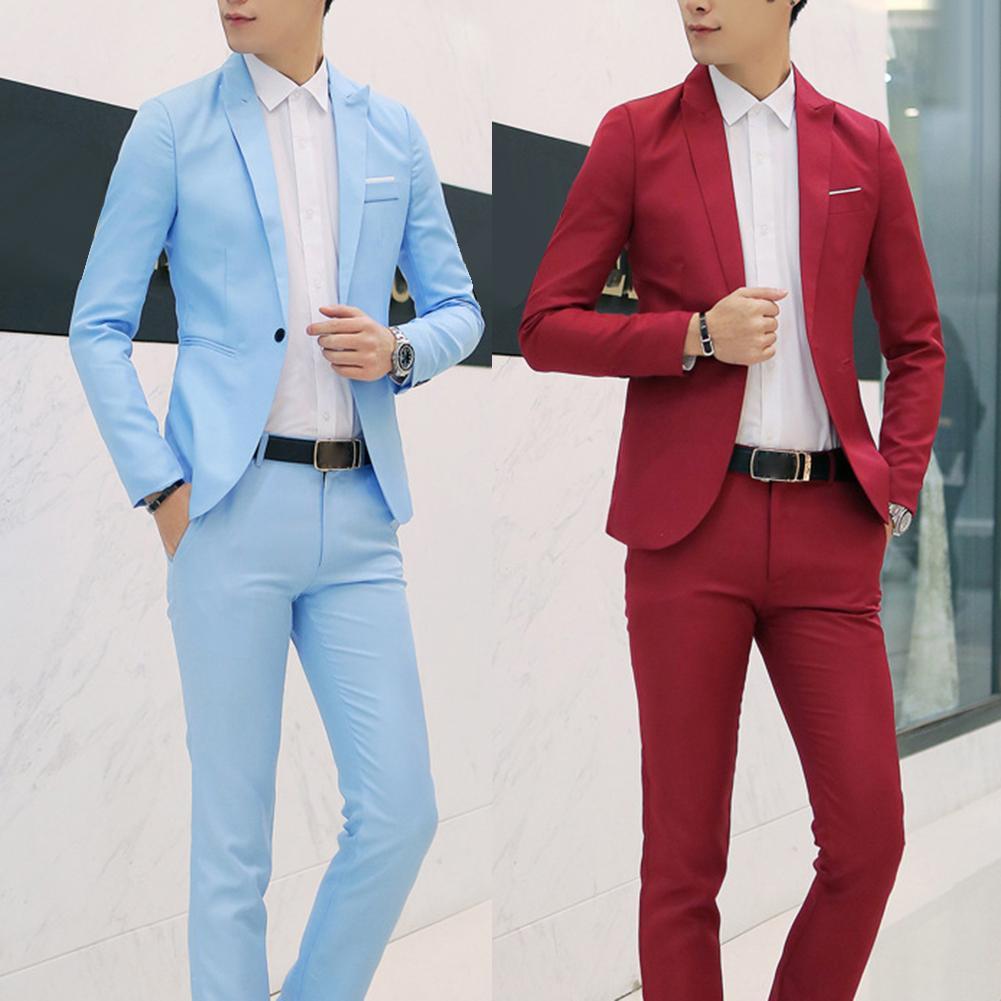 (Chaqueta + pantalón) traje de boda de lujo para hombre, trajes de Blazers para hombre, traje Formal de negocios, fiesta azul, rojo clásico