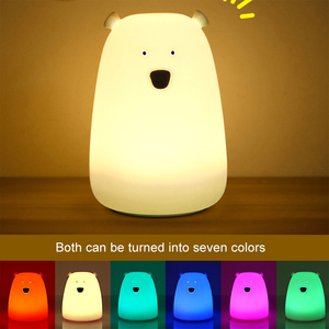 Image 2 - Colorful Bear Silicone LED Night Light Chargeable Battery Touch Sensor light 2 Modes Children Baby Kids Night Lamp Bedroom Light