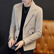 Модные мужские блейзеры деловые повседневные приталенные пальто