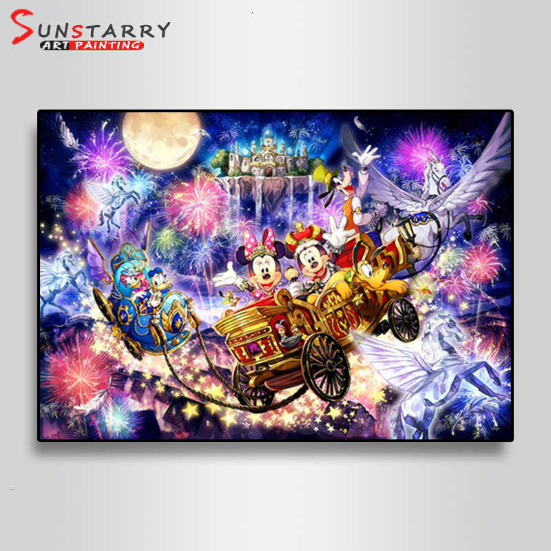Sunstarry 5D DIY Full Square Diamond Painting Disney Pattern Round Embroidery Cross Stitch Rhinestone Mosaic Decor Gift DSN-0092