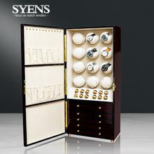 Automatyczna nakręcarka zegarków drewniane na szafkę 12 zegarków i gablotka na biżuterię luksusowy schowek tanie tanio SYENS Zegarek nawijarki 38cm TG1205 Nowy bez tagów 21cm Wood 83cm Black 23000g