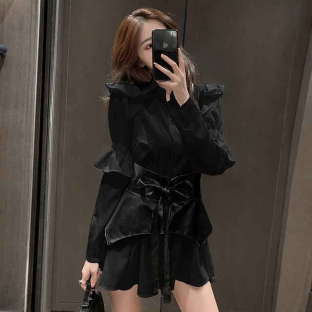 2020 autumn Patchwork Dress  Women Lapel Collar Flare Long Sleeve High Waist Pu Girdle Lace Up Mini Dresses Female Clothing 6