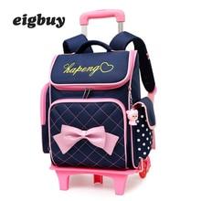 Removable Children School Bags With 2/6 Wheels For Girls Trolley Backpack Kids Wheeled Bag Kids Bookbag Travel Luggage Mochila все цены