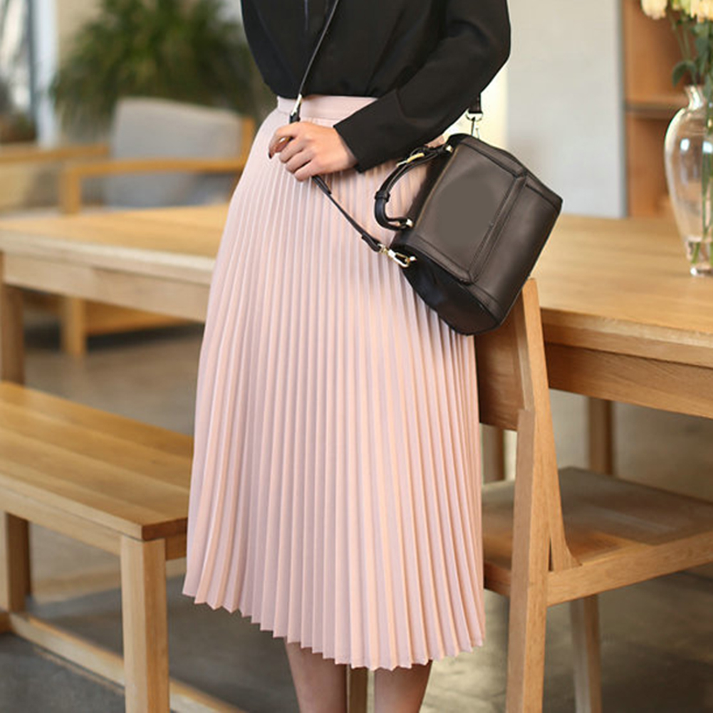 Fashion Women's Pleated Skirts High Waist Solid Color Mid Pink Blue Red Pleated Skirts Solid Color Half Length Elastic Skirt Hot