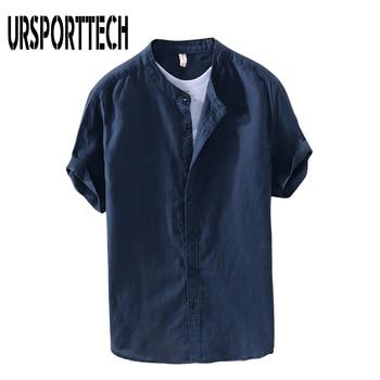 URSPORTTECH Musim Panas 2021 Baru Antik Kaus Pria Katun Linen Longgar Kasual Padat Lengan Pendek Blus Merek Harajuku