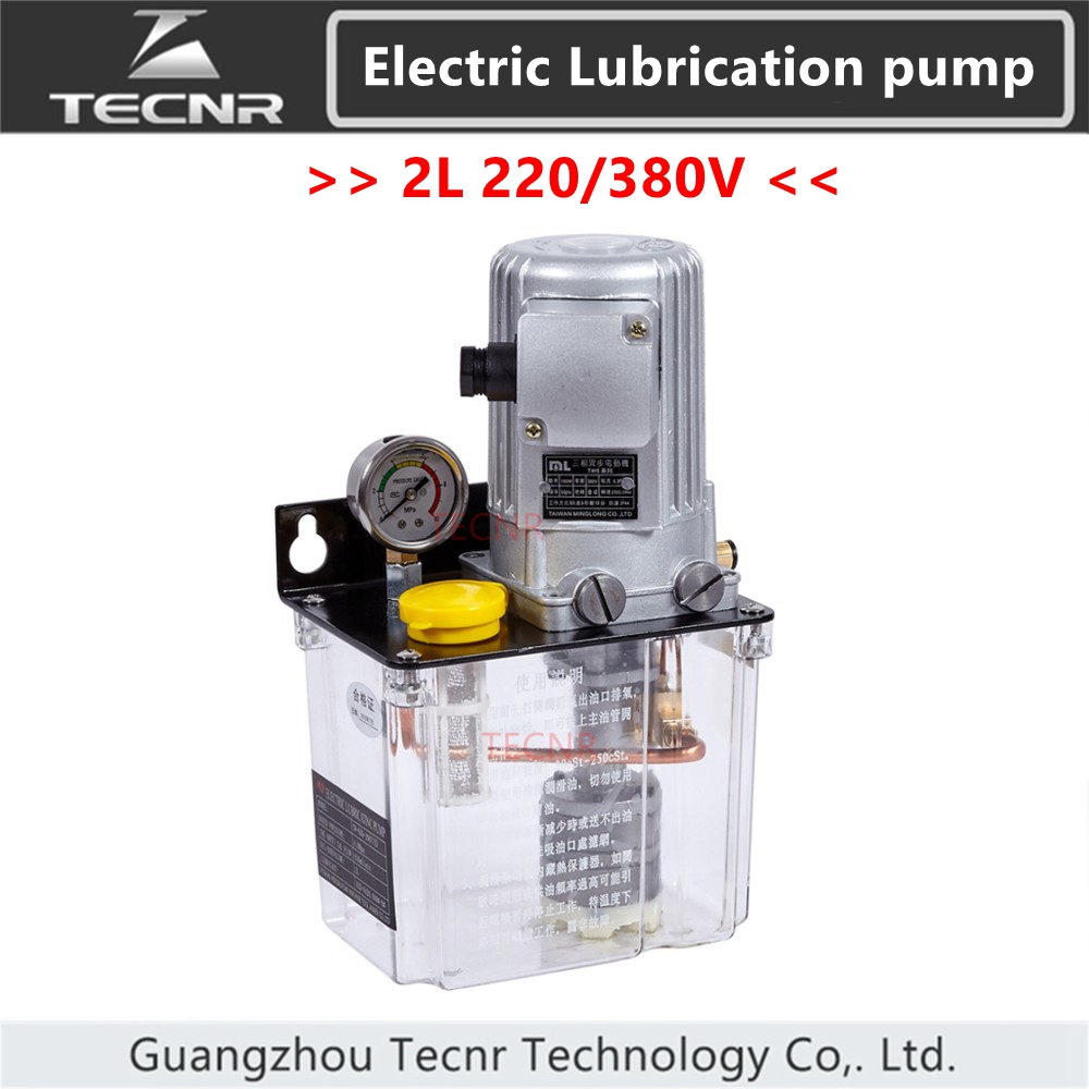 TECNR 2L CNC pompe de lubrification à huile automatique 220V 380V PLC minuterie électronique numérique pompes à engrenages graisse à huile mince pour routeur de CNC