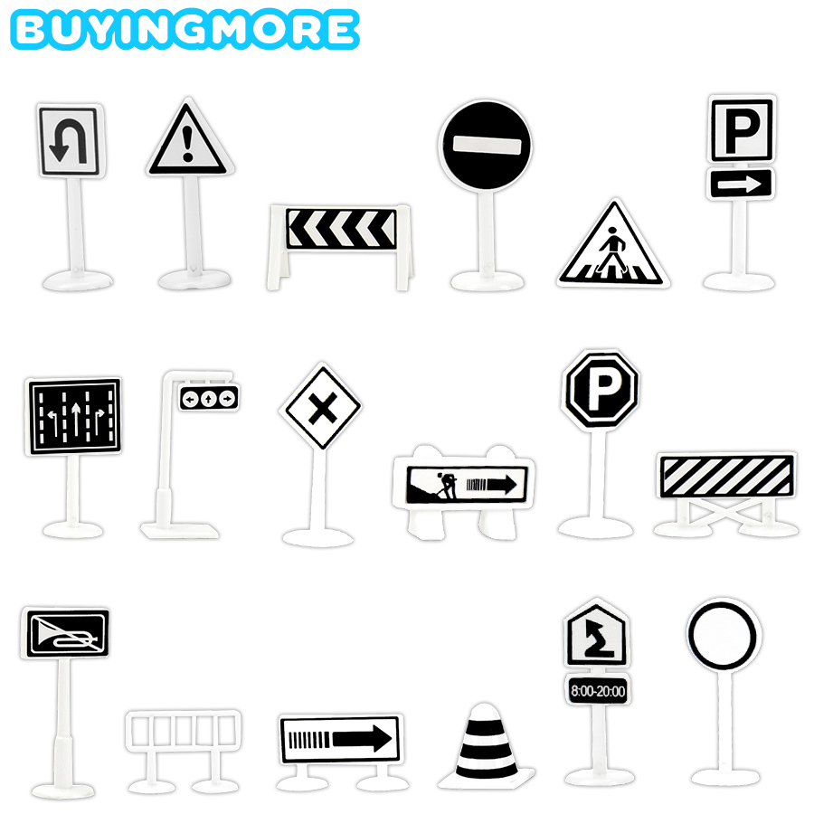 18 PCS Traffic Road Sign Kids Toys Parking Lot Map Accessories Diecast Plastic Model Black And Blue Road Sign Toys For Children