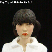 1/6 KUMIK KM017 Beauty Girl Head Sculpt With Pigtails Model toys for 12