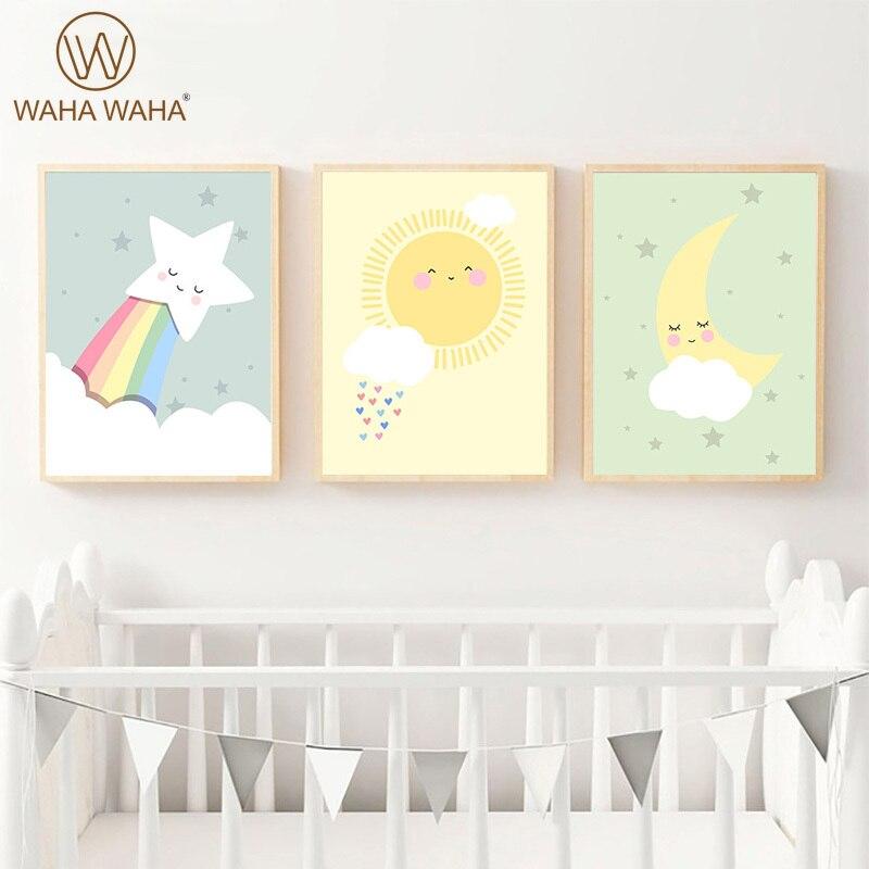Nordic Poster Sun Moon Stars Dark Clouds Rainbow Baby Kindergarten Cartoon Wall Art Picture Children's Room Decoration Painting