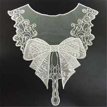 1pc elegant black twine bow embroidery neckline clothing decoration sewing applique craft collar lace slim collar