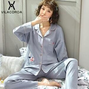 Image 4 - Dorywczo owocowy kieszonkowy kardigan na guziki kobiety Pijama Lapel z długim rękawem spodnie wygodna piżama dla kobiet dorywczo śliczna odzież domowa