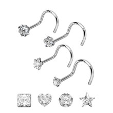 4pc/set Geometric Rhinestone Nose Ring 20G Surgical Steel Twisted Nose Studs Screw Ring Body Piercing Crystal Nostril Jewelry(China)