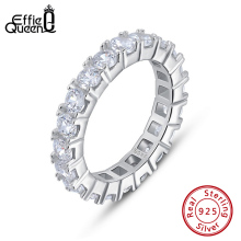 Effie Queen Silver 925 Finger Ring Fancy Ladies Ring Paved with 22 Pieces AAAA Zircon Wedding Band Engagement Jewelry Ring BR205 effie queen trendy big charming women ring 196 pieces zircons paved smoothly real luxury crystal finger ring for party dr123